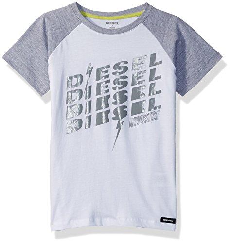 Diesel Little Boys' Short Sleeve Printed Crew Neck T-Shirt, White Jedg, 6
