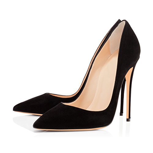 Pumps High Heel Women's Shoes Dress Toe Heel Stilettos Slip Court High Pumps Pointed Black On Suede onlymaker Shoes Court 6Anq7Wd1xn