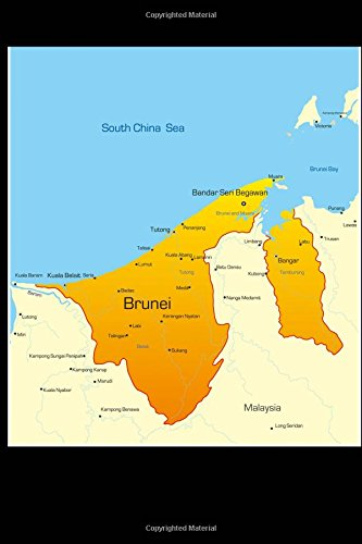 Map of Brunei Journal: 150 page lined notebook/diary