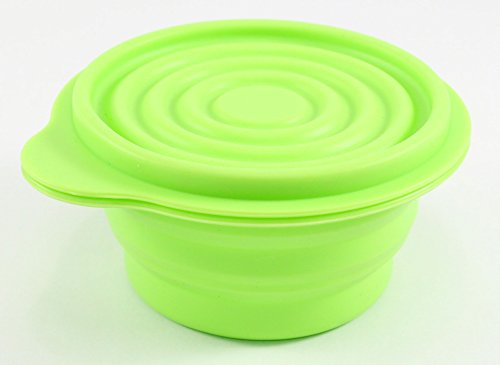 Perfect Life Ideas Collapsible Travel Dog Bowl Pet Feeder - Storage Container for Solid Food Treats Snacks Cereal Salads - Collapses for Easy Storage - Silicone Push up Pop Container Camp Bowl and Lid (Capacity Pet Food)