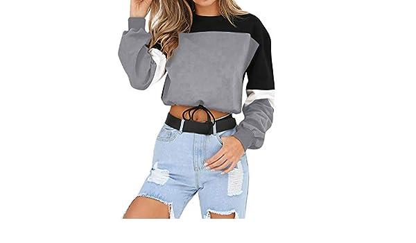 Mujer Sudadera Cremallera Pullover Blusa Manga Larga Crop Tops con Camisa Patchwork: Amazon.es: Ropa y accesorios