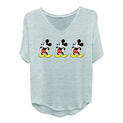 Disney Ladies Mickey Mouse Fashion Shirt - Ladies Classic Mickey Mouse Clothing Mickey Mouse Shirt Tail Short Sleeve Tee (Grey Heather, Large)