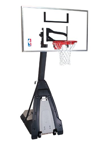 "Spalding NBA ""The Beast"" Portable Basketball System – 60″ Glass Backboard – DiZiSports Store"