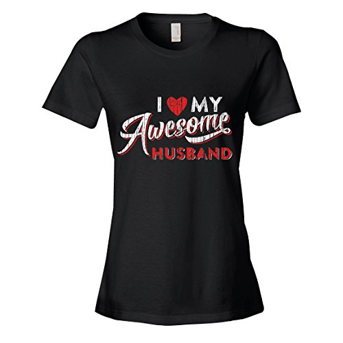 Couples T-Shirt, I Love My Awesome Husband T-Shirt, Womans Small Black T-Shirt by Texas Tees
