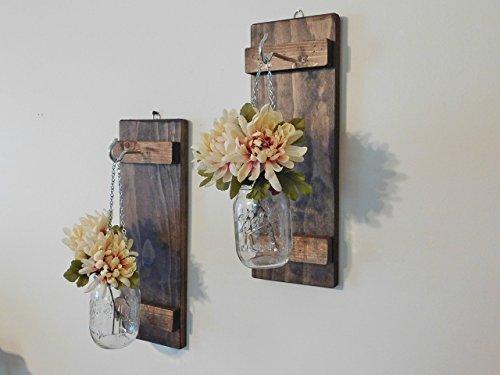 Set of Hanging Mason Jar Wall Sconces by Twin Oak Rustics