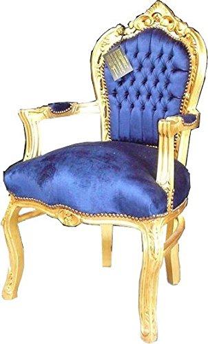 Casa Padrino Barroco Cena Silla Real Azul/Oro con ...