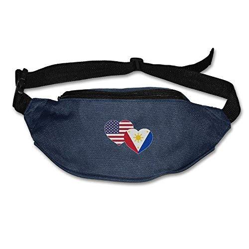 Spanwell Unisex Waist Pack US Filipino Flag Heart Flat Fanny Bag Pack For ort