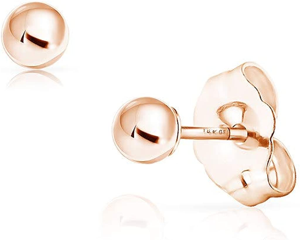 SOLIDGOLD - 14K Gold Filled Ball Stud Earrings 3-8mm | Yellow, Rose & White Gold