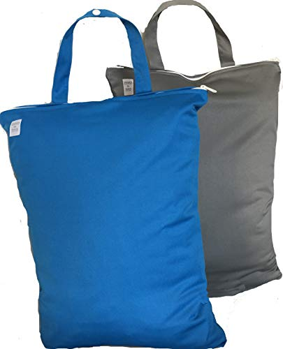 2 Waterproof Wet/Dry Bags   13Wide X 18High  Contains Odors  Washable & Reusable   for: Cloth Diapers, Daycare, Soiled Baby Items, Swimsuits, Gym, Yoga, Travel (Blue & Gray)