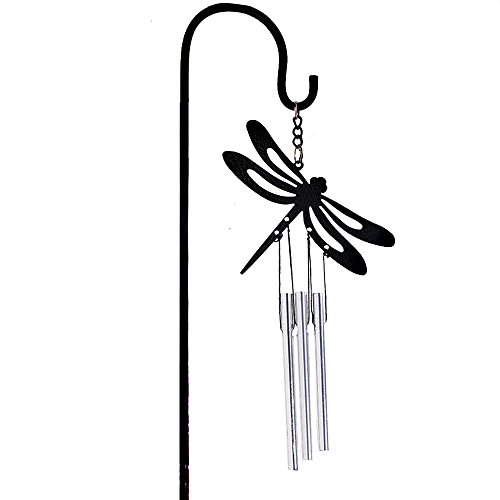 Black Coated Dragonfly metal bell Tube Wind Chimes Stake Indoor/Outdoor Garden Flower Pot Bonsai Decor
