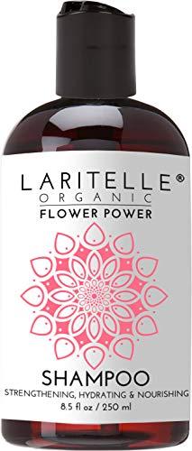 (Laritelle Organic Shampoo Flower Power 8.5 oz | Hair Loss Prevention, Strengthening, Moisturizing, Softening | NO GMO, Sulfates, Gluten, Alcohol, Parabens, Phthalates | Unscented. Hypoallergenic)