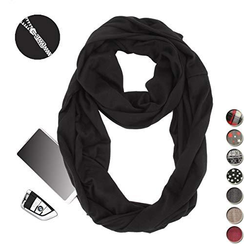 Pentagram Wallet (Infinity Pocket Scarf Novelty Premium Travel Hidden Zipper Scarves for Women Girls Men Couple Winter Warm Soft Lightweight)