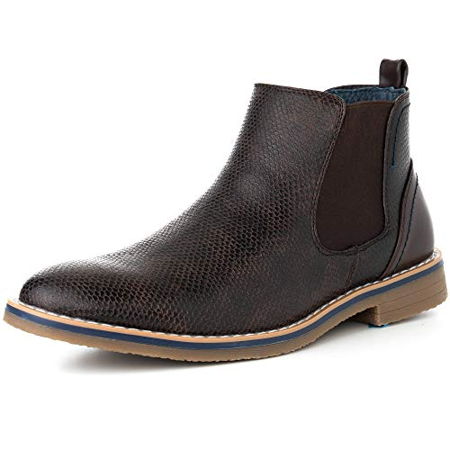 (alpine swiss Mens Nash Chelsea Boots Snakeskin Ankle Boot Genuine Leather Lined BRN 11 M US Brown )