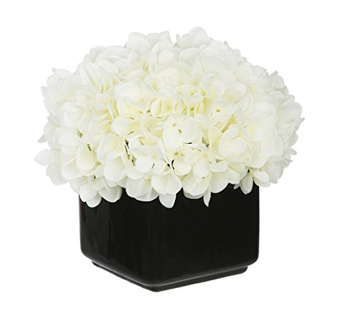 Artificial Hydrangea in Small Black Cube Ceramic Color: White