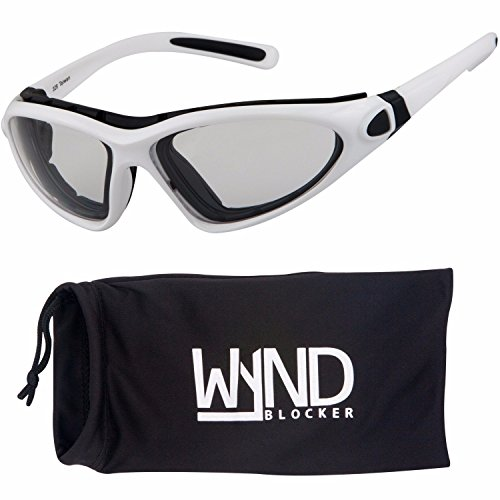 WYND Blocker Vert Motorcycle & Outdoor Sports Wrap Around Sunglasses (White / Clear - Glasses White Cycling