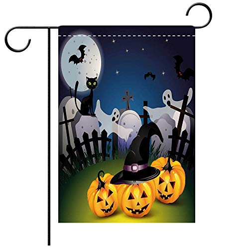Double Sided Premium Garden Flag Halloween Funny Cartoon Design with Pumpkins Witches Hat Ghosts Graveyard Full Moon Cat Decorative Decorative Deck, patio, Porch, Balcony Backyard, Garden or Lawn ()