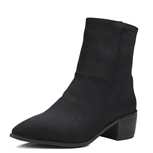 Ei&iLI Printemps des femmes / automne / hiver Bootie simili cuir extérieur / bureau & talon Chunky carrière / Casual , black , 35