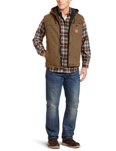 Carhartt Men's Big & Tall Sandstone Hooded Multi Pocket Vest Sherpa Lined
