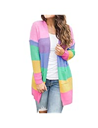 SJLee Clothes Sweater Cardigan Plus Size Womens Patchwork Long Sleeve Rainbow Stripe Tops Coat