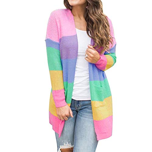 (Leoy88 Womens Patchwork Long Sleeve Rainbow Stripe Cardigan Tops Sweater Coat)