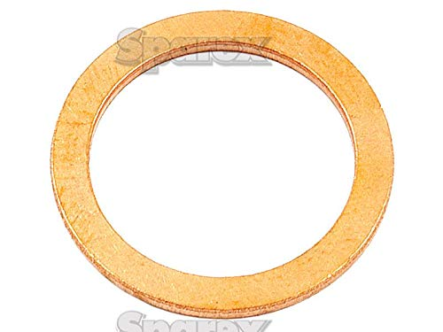 Copper Washer, ID: 10mm, OD: 16mm, Thickness: 1mm.