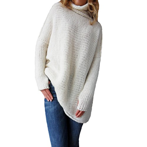 Manches en Femme Blouse Chunky Tops Casual Pull Pullover Hiver Solide Haut Oversized Couleur Tricots Blanc Longues Chaleureux Col 4wqPFPS