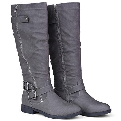 Twisted Damen Amira Asymmetrische Reißverschluss und Schnalle Kniehohe Reitstiefel Grau