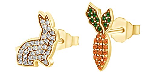 Round Shape Simulated Multi Stone Rabbit & Carrot Stud Earrings 14k Yellow Gold Over Sterling Silver ()