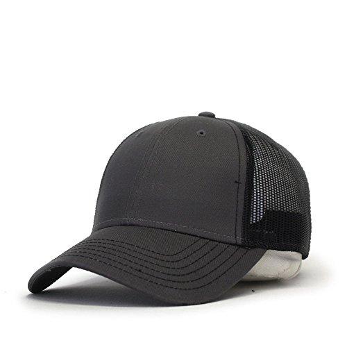 Vintage Year Plain Cotton Twill Mesh Adjustable Snapback Low Profile Trucker Baseball Cap (Various Colors) (Charcoal Gray/Charcoal Gray/Black) ()