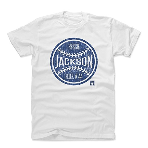 (500 LEVEL Reggie Jackson Cotton Shirt (Large, White) - New York Yankees Men's Apparel - Reggie Jackson Ball B)