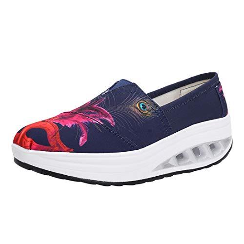 Sneaker Fitness Damen Outdoor Freizeitschuhe LINNUO Wedges Sportschuhe Plateau 20gedruckt Walkingschuhe Laufschuhe Loafers IdRWEq