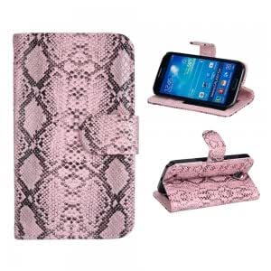 PU Leather and Plastic Protective Case with Colorful Snake Pattern for Samsung S4 i9500 Pink