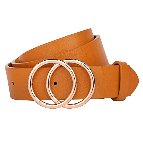 Earnda Women's Leather Belt Fashion Soft Faux Leather Waist Belts For Jeans Dress Yellow XS