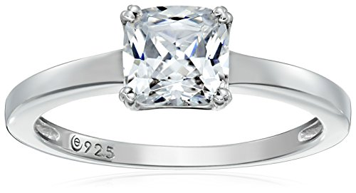 Platinum-Plated Silver Cushion-Cut Solitaire Ring made with Swarovski Zirconia, Size 9
