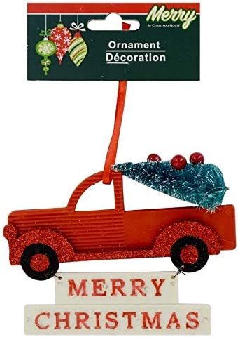 Christmas House Tinsel Truck Ornament w