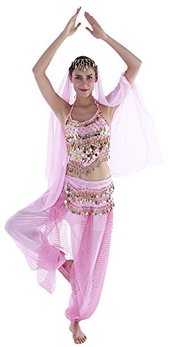 Seawhisper India Belly Dancer Costume Pink Genie Outfits for (Good Costumes For Halloween Dances)