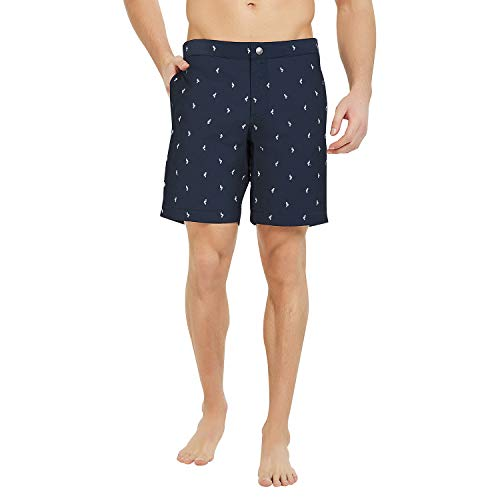 Button Fly Suit - YalayMceeg Mens Swim Trunks Quick Dry Swimming Shorts with Zipper Pockets Full Mesh Liner Design Casual Shorts (Navy Bird, 30)