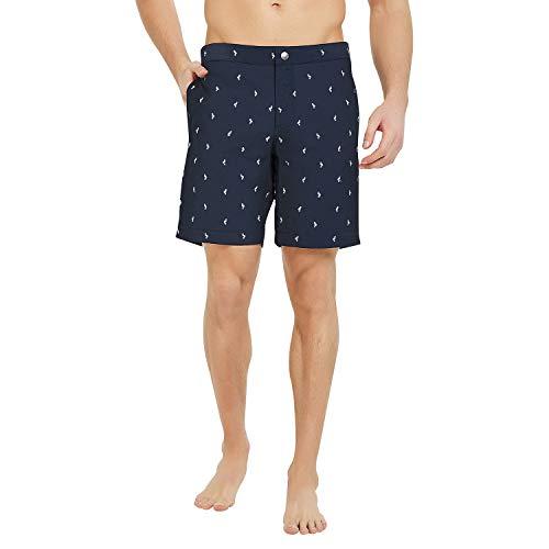 YalayMceeg Mens Swim Trunks Quick Dry Swimming Shorts with Zipper Pockets Full Mesh Liner Design Casual Shorts (Navy Bird, 30)