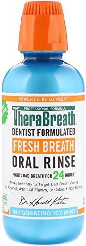 TheraBreath Fresh Breath Oral Rinse - Icy Mint | Fights Bad Breath | Certified Vegan, Gluten-Free, & Koshe
