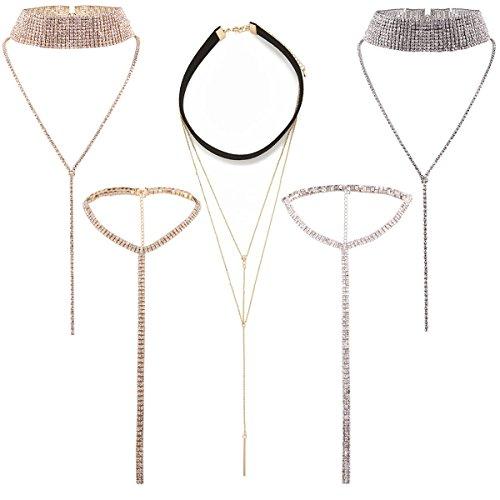 Tpocean 5 PCS Rhinestone Crystal Diamonds Chokers Set Long Tassel Pendant Black Velvet Gold Chain Bling Necklaces for Women Girls Teen
