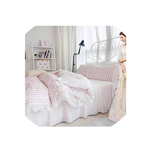 (Korean Princess Bedding Set Cotton 4Pcs Girls Lace Duvet Cover Set King Queen Wedding Bedclothes Bed Sheet Bedspread Pillowcases,E,4Pcs King Size)