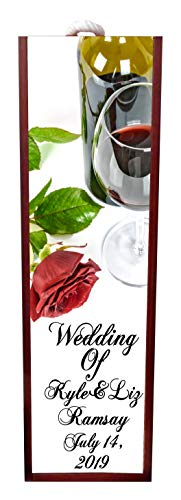 Wedding Of - Wine Stopper Wedding - Wine Glasse and Rose Wine Box Personalized - Wine Box Rosewood with Slide Top - Wine Box Holder - Wine Case Decoration - Wine Case Wood - Wine Box Carrier ()