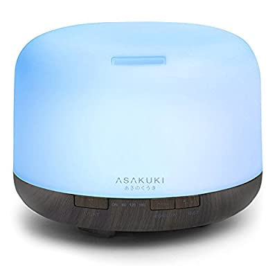 ASAKUKI 500ml Premium, Essential Oil Diffuser, 5 In 1 Ultrasonic Aromatherapy Fragrant Oil Vaporizer Humidifier, Timer and Auto-Off Safety Switch, 7 LED Light Colors