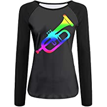 Thende colorful Trumpet Player Musical Instrument Women's Crew Neck Long Sleeve Raglan T-Shirts