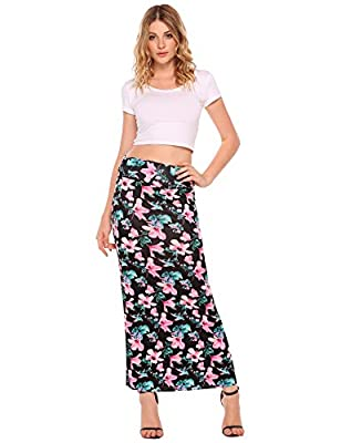 Zeagoo Women's Colorful Printed Fold Over Waist Long Maxi Skirt