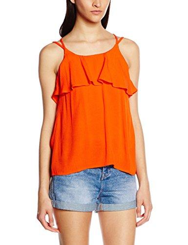 Vero Moda Vmcrinkla S/l Frill, Tank Top Para Mujer rojo (mandarin red mandarin red)