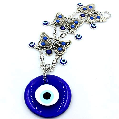 Studyset Turkish Evil Eye Hanging Pendant Home 3layers Alloy Butterflies Blue Eyes Glass Wall Decoration