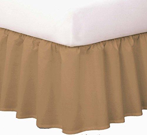 "Magic Skirt Ruffled Bedskirt, Never Lift Your Mattress, Classic 14"" drop length, Gathered Ruffle Styling, King, Mocha"