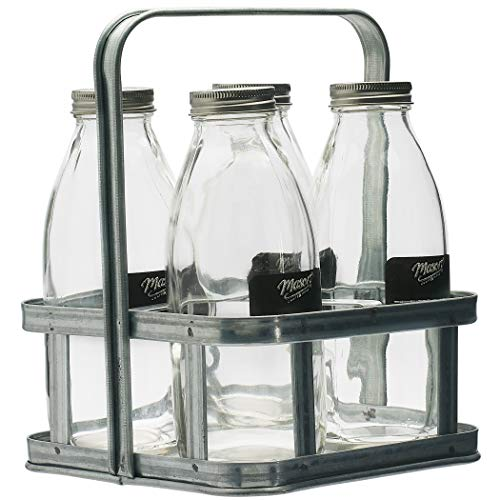 Mason Craft & More Drinkware Collection- Durable Glass Leak Proof Beverage Glassware, 5 Piece Milk Bottle Set with Caddy