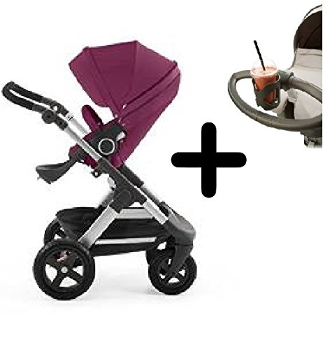 Stokke Trailz All-Terrain Stroller - Purple + Stokke Cup Holder by Stokke